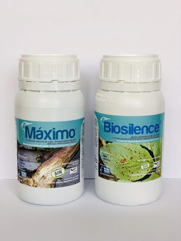 MAXIMO Pack BIOSILENCE (2.200 m2). Mildiu/Botrytis. Fertilizante Especial Perfil Bio-Protector, Barrera física Efecto Multi Choque Bioestimulante Especial (Enfermedades-mildiu). Ecologico