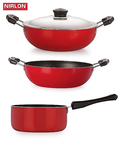 Nirlon Non-Stick Aluminium Cookware Set, 3-Pieces, Red/Black (2.6mm_KD13_DKDB_SPB) Pot & Pan Sets at amazon