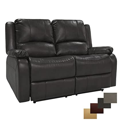 RecPro Charles 58u0026quot; Double RV Zero Wall Hugger Recliner Sofa Loveseat RV  Furniture Chestnut