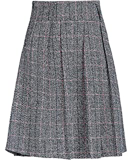 3be6b6a93c chouyatou Women's Graceful Knee Length A-Line Pleated Midi Plaid Wool Skirt