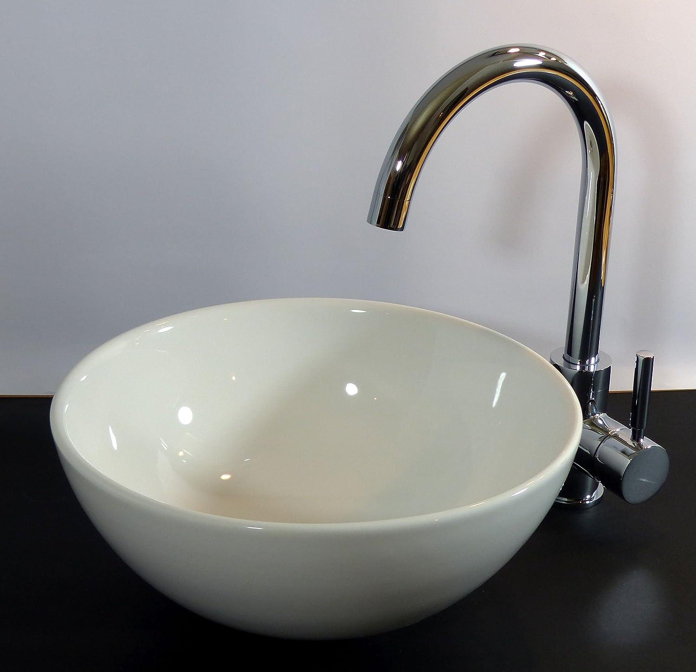 Keramik Aufsatz Waschbecken Waschschale rund 32cm: Amazon.de: Baumarkt