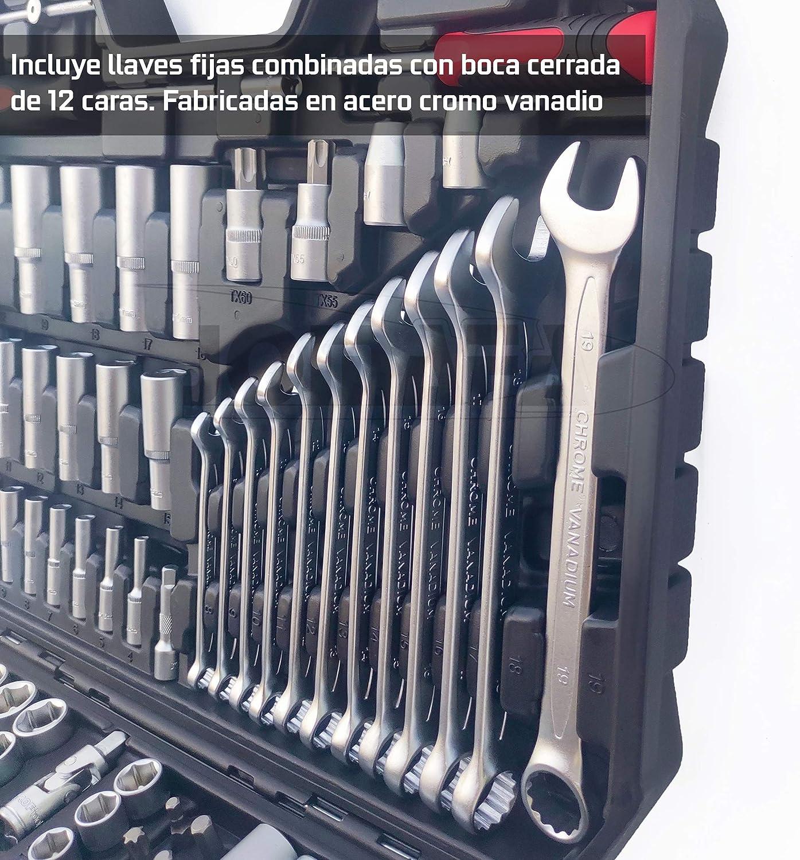 ESTUCHE DE HERRAMIENTAS 218 PIEZAS CARRACA 1/4 1/2 3/8 LLAVES VASOS Y LLAVES FIJAS: Amazon.es: Bricolaje y herramientas