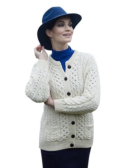Carraig Donn Irish Fisherman Sweater Ladies 100 Merino Wool White