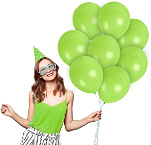 Matte Bright Lime Green Balloons 12 Inch 36 Pack Premium Latex Apple Balloon for Ghost Birthday Neon Party Decorations and Supplies