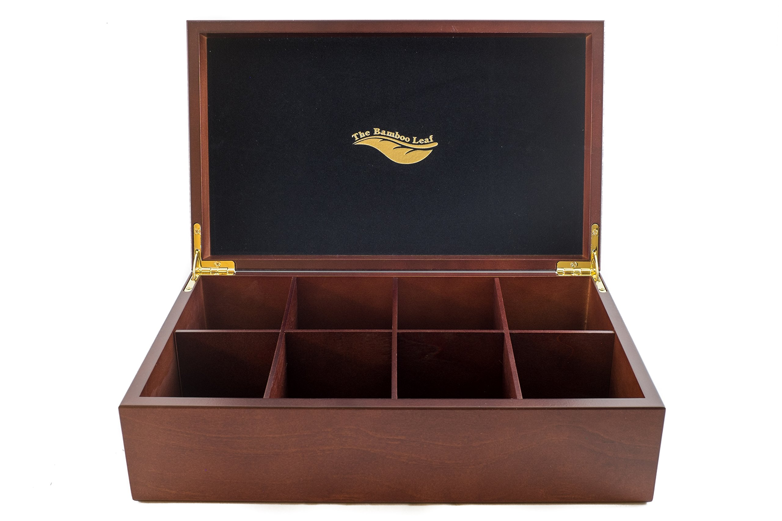 The Bamboo Leaf Tea Storage Chest, 8 Compartment w/Solid Lid (Cherrywood) by The Bamboo Leaf