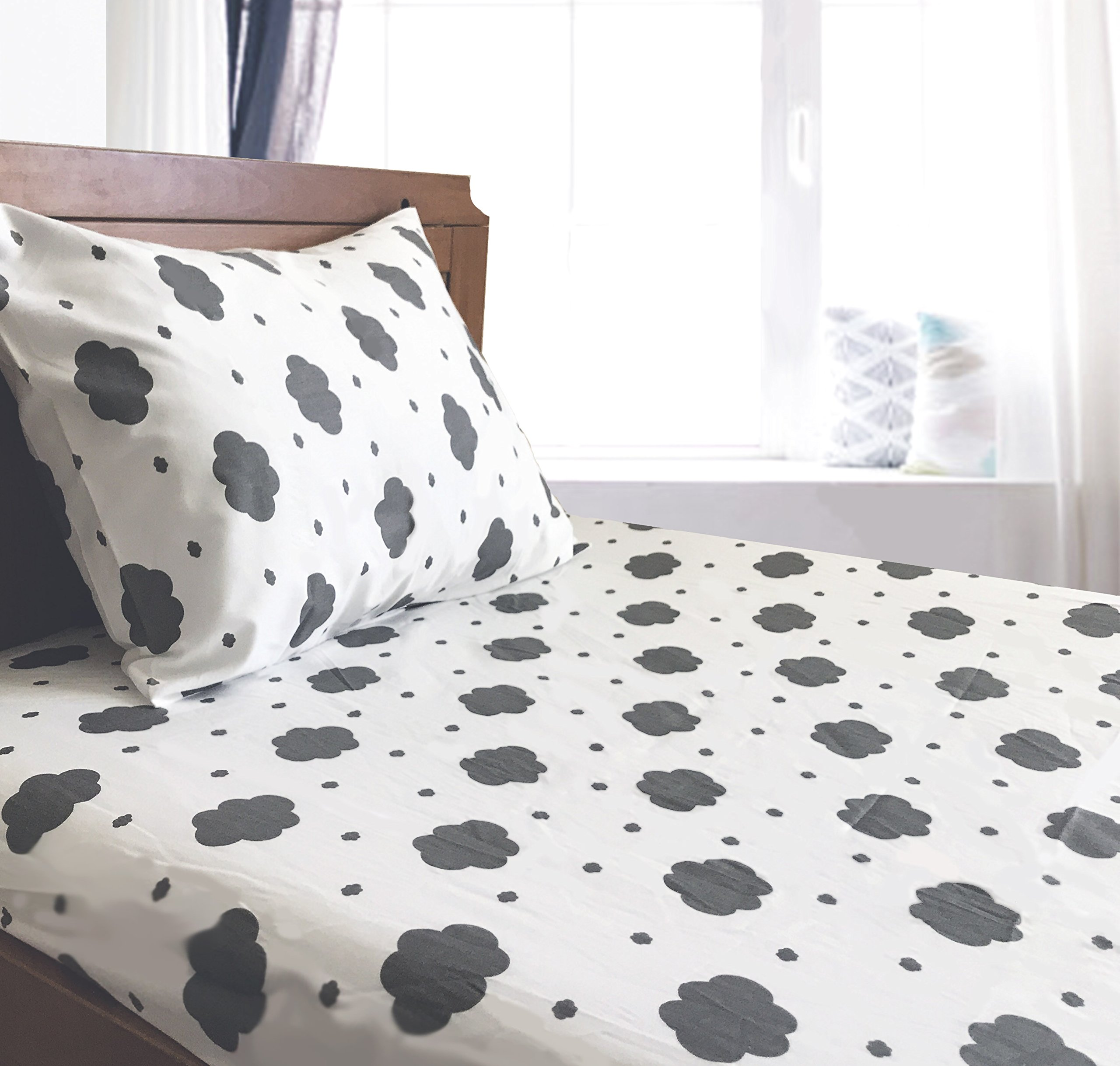 Crib / Toddler Bed Sheet and Pillowcase Set (Grey Clouds) 100% Premium Cotton by Dreamtown Kids