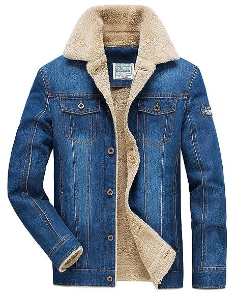 996d140972f140 JEWOSOR Herren Winter Casual Jeansjacke Mode Baumwolle Denim Outdoor warme  Jacke (Blau, XX-