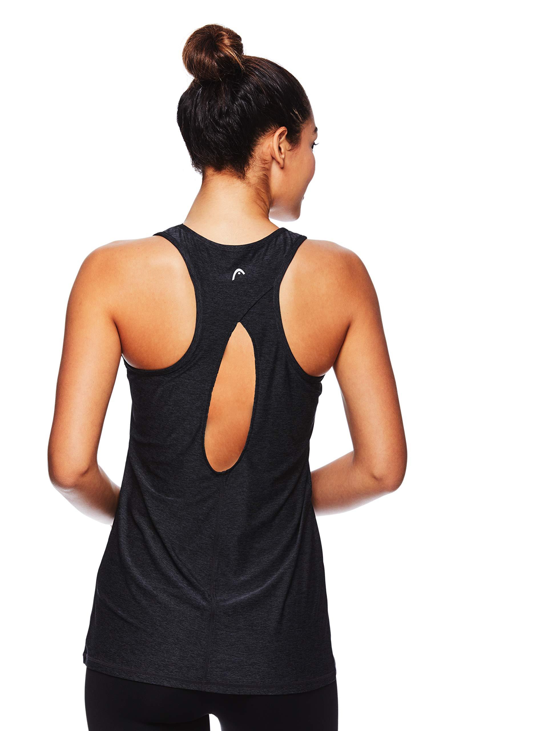 HEAD Women's Match Up Racerback Tank Top - Sleeveless Flowy Performance Activewear Shirt - Black Heather Match Up Tank, X-Small