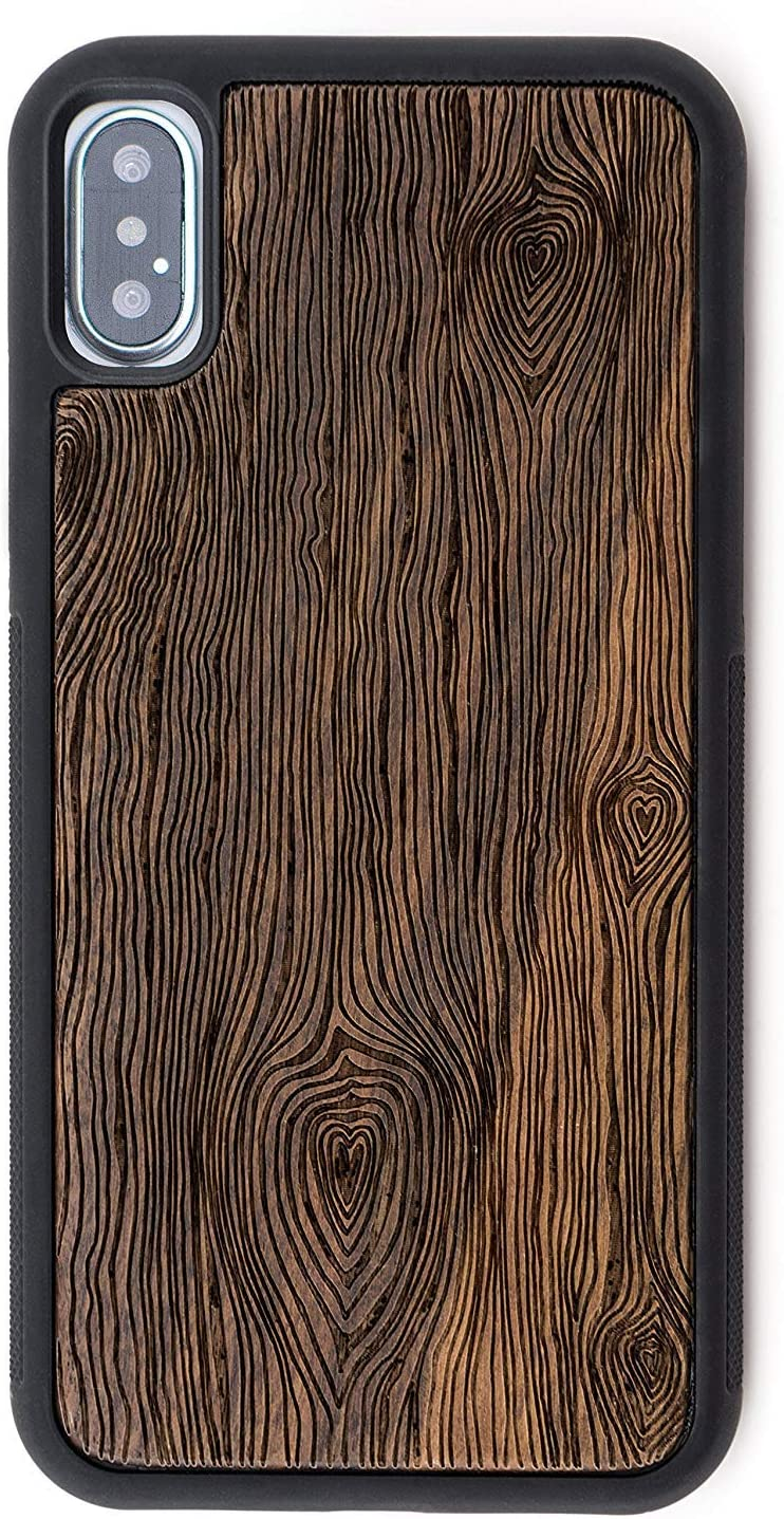 Wood Case Compatible with iPhone XR by Reveal Shop - Natural, Eco-Friendly Wooden Designs with Extra Protective, Shock Absorbing Inner Shell (Walnut, XR)