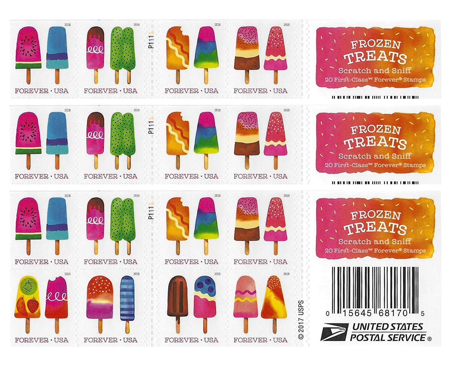 USPS The Frozen Treats Postage Stamps (Book of 60)