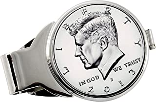 product image for Coin Money Clip - Proof JFK Half Dollar | Brass Moneyclip Layered in Silver-Tone Rhodium | Holds Currency, Credit Cards, Cash | Genuine U.S. Coin | Includes a Certificate of Authenticity