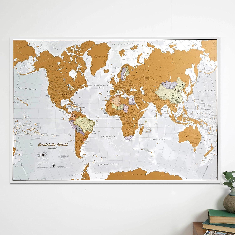 color Gold Travel Scratch Print Scratch the World/® Mapa impreso.