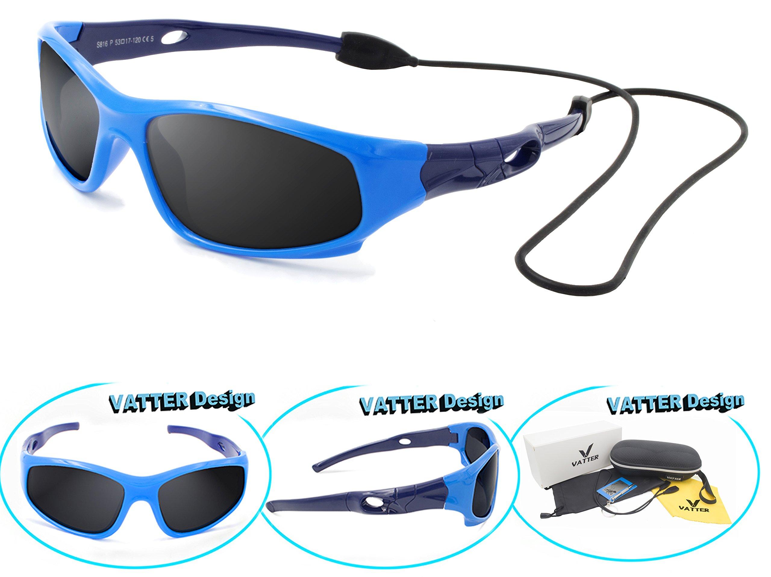 VATTER TR90 Unbreakable Polarized Sport Sunglasses For Kids Boys Girls Youth 816blueblue