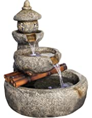 Asian Decor Water Fountain with LED Light - Tranquil Springs Pagoda Fountain - Outdoor Water Feature