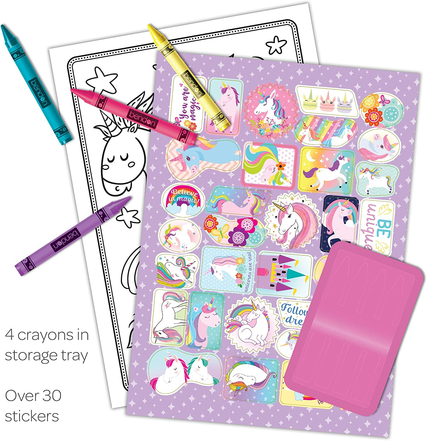 Unicorn Coloring and Activity Book with Crayons and 30 Stickers 48470 Bendon Inc