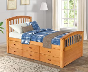 Twin Size Platform Bed Wood Storage Bed with 6 Drawers, Captain Bed Bedroom Furniture for Kids,Oak