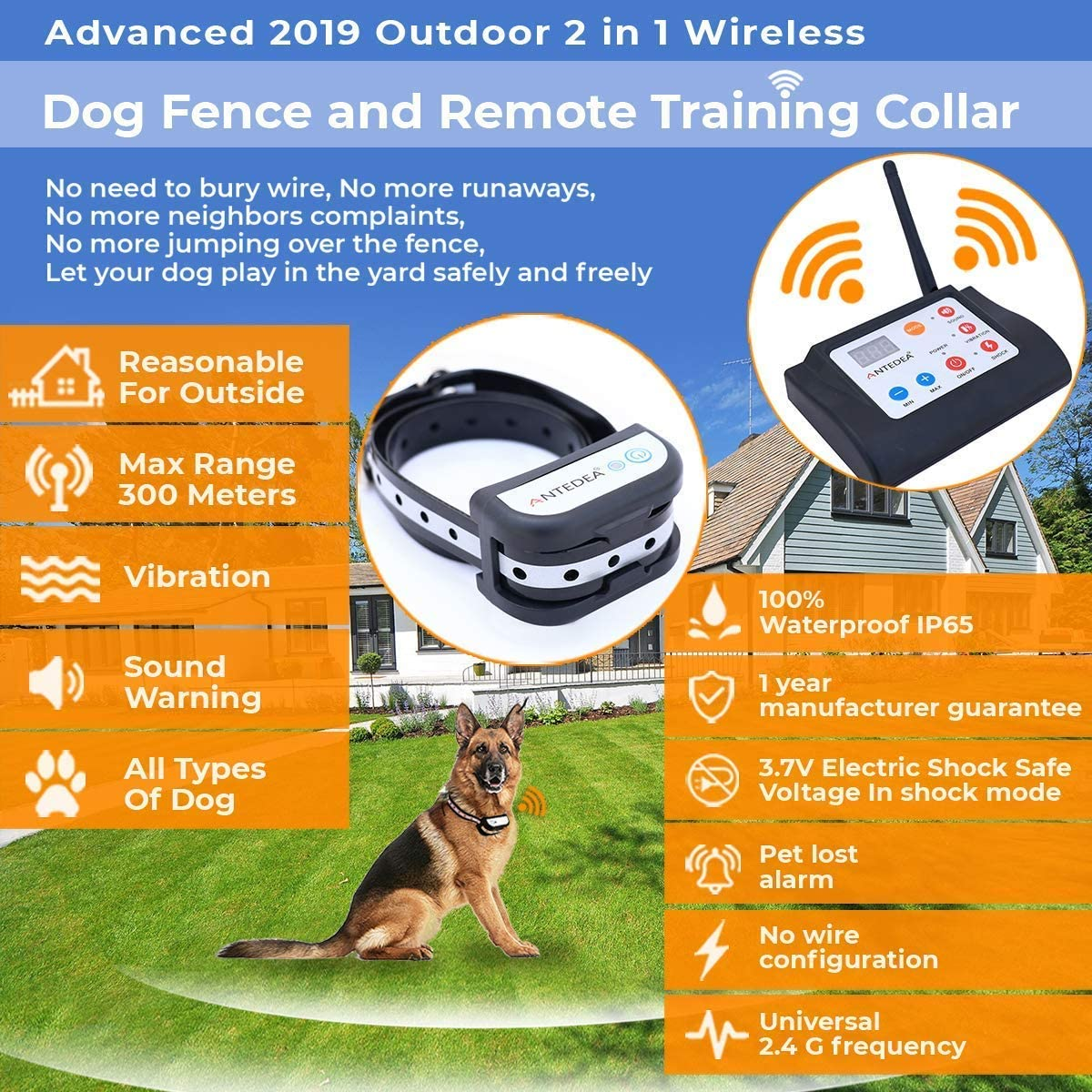 IPX7 100/% Waterproof /& Rechargeable 100 Adjustable Level ANTEDEA Invisible Dog Fence with Advanced Bluetooth 2.4GHz Technology