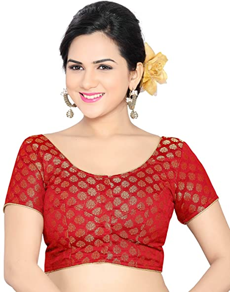 Studio Shringaar Wedding Red Solid Short Sleeve Non-Padded Blouse Blouses at amazon