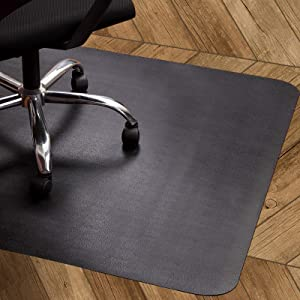 Office Chair Mat for Hardwood Floor, Lesonic Desk Chair Mats Black Floor Protector for Rolling Chair, Anti-Slip Computer Heavy Duty Chair Mat for Tile Floor Home,Non-Curve,47x35 inches,Not for Carpet