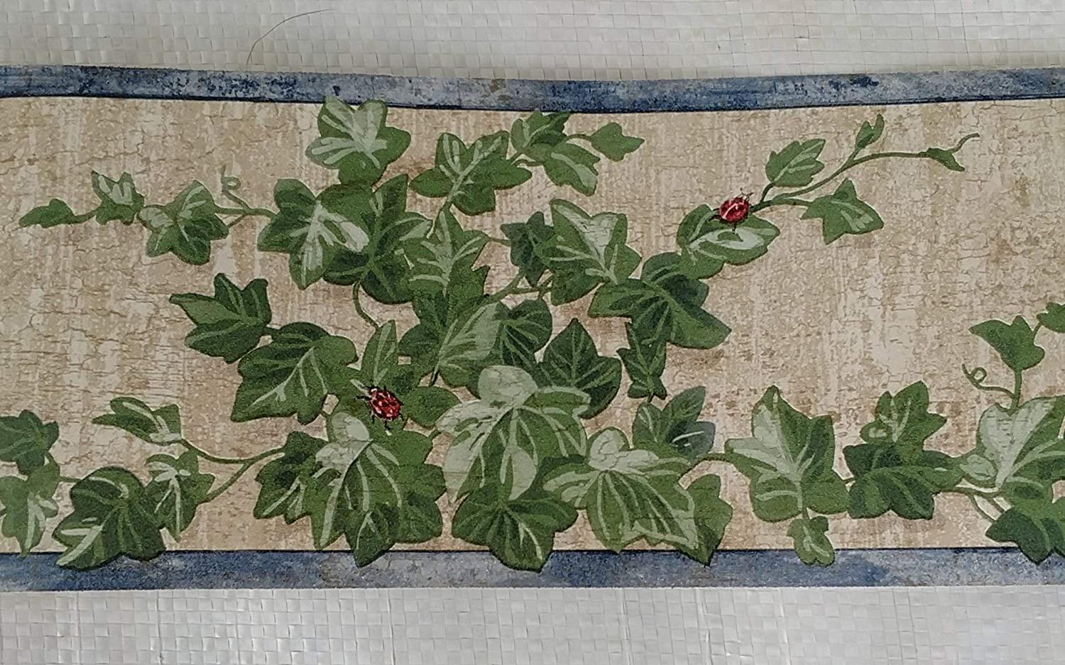Country Vines Lady Bugs Ivy Kitchen Wallpaper Border - Blue