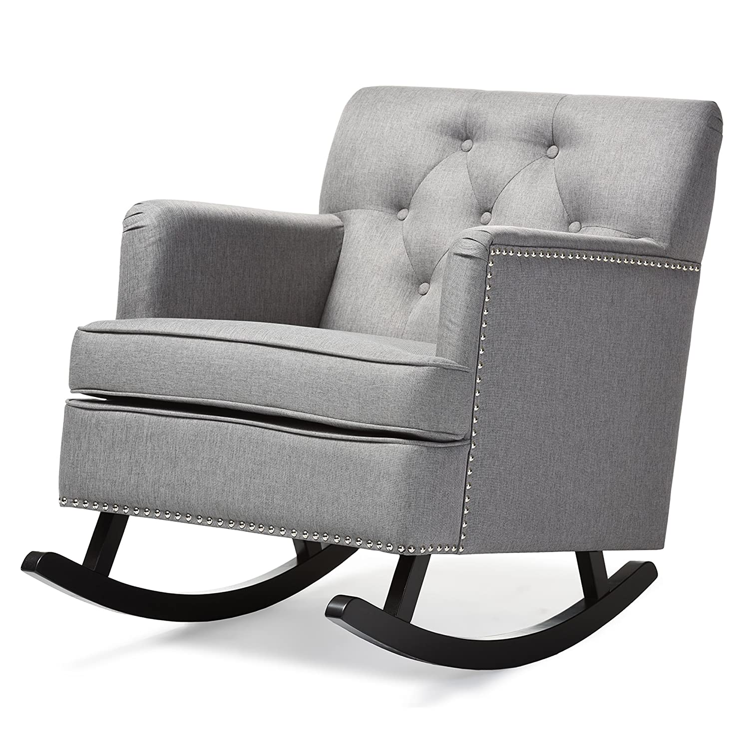 amazoncom baxton studio imperium wood and linen contemporary  - baxton studio bethany modern  contemporary fabric upholsteredbuttontufted rocking chair grey