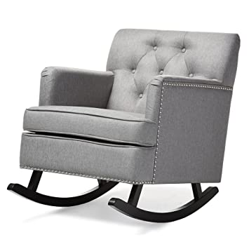 Baxton Studio Bethany Modern U0026 Contemporary Fabric Upholstered  Button Tufted Rocking Chair, ...