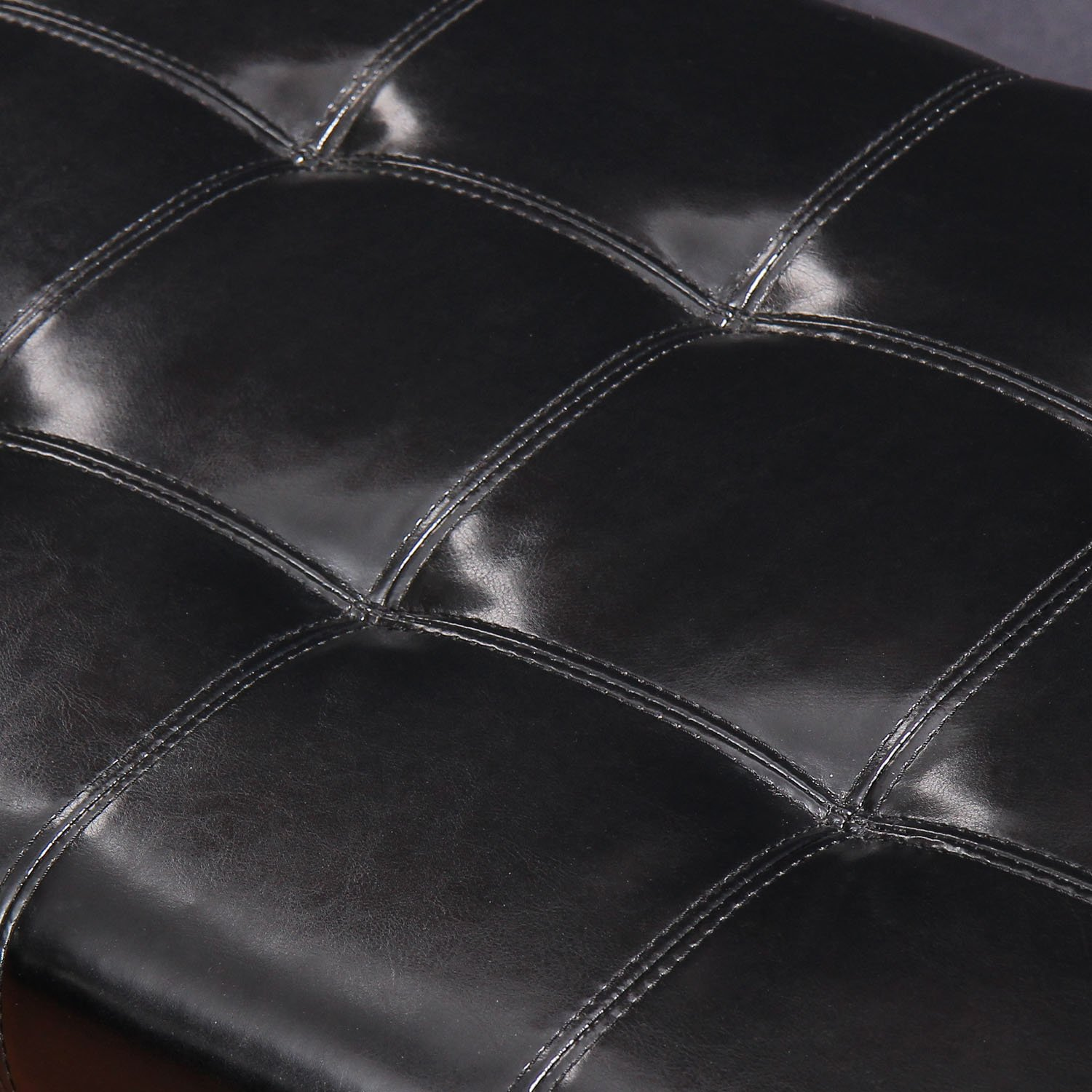 Adeco FT0006-1 Bonded Leather Tufted Accents Rectangular Storage Bench Footstool Ottoman, Extended Lid, Dark Chocolate