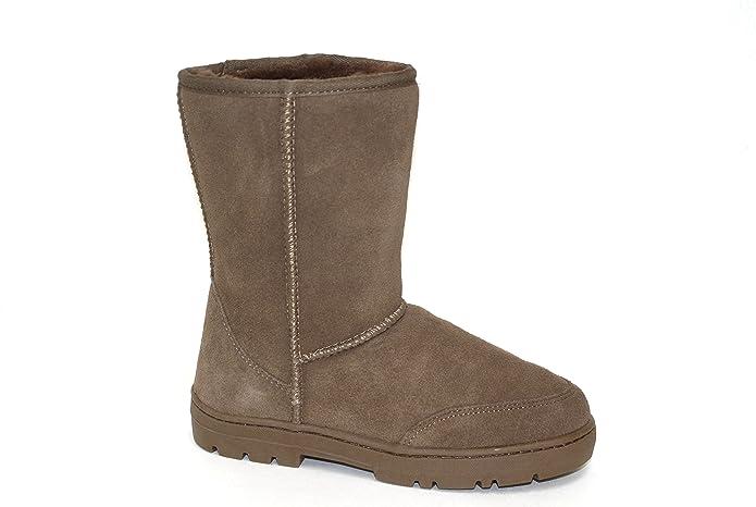 SUPER s6x Lammfell Stiefel Halbschaft Damen Stiefel Australisches Lammfell Lammfell Boots Cognac braun grau mit beigen Lammfell