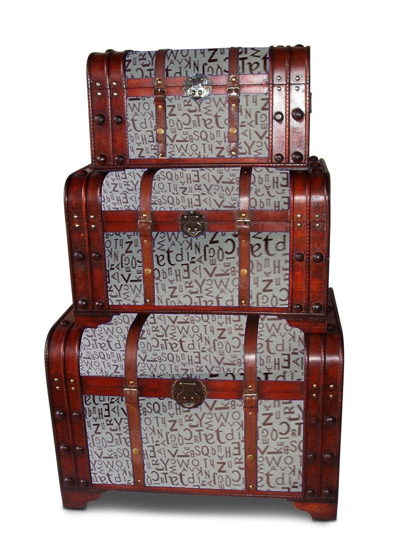 clatin 25505 Design Lot de 3 coffres en bois – Design Noble lettres