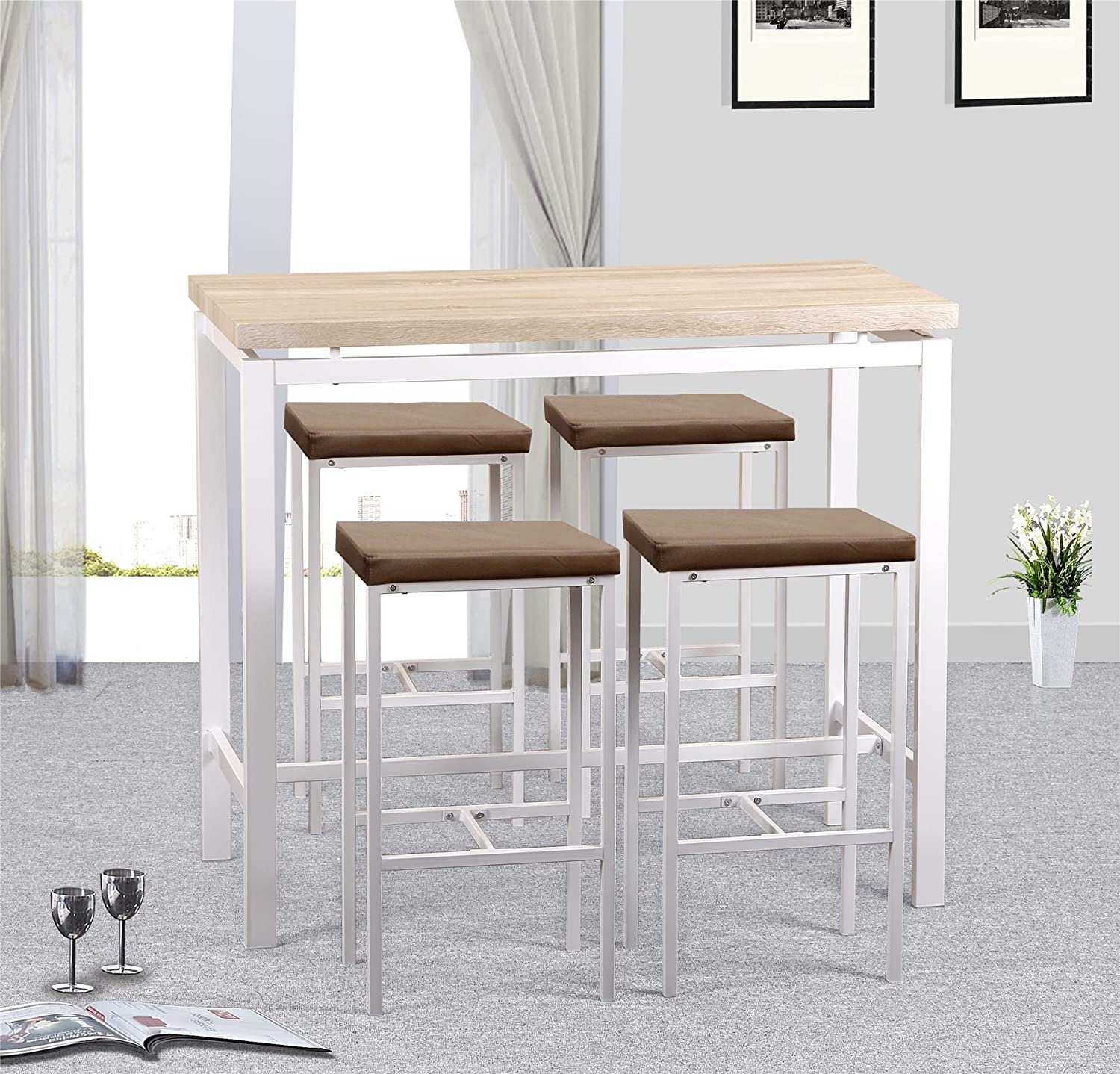 Gr8 Home High Counter Bar Set 5 Piece Breakfast Table And Chairs Bistro Pub Kitchen Dining Stools