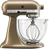 KitchenAid KSM155GBCZ Artisan Design Series with Glass Bowl, 5 quart, Champagne Gold 需配变压器