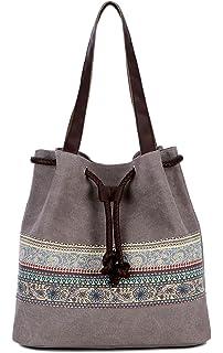 b08c46478d39ae DCCN Canvas Tasche Damen Shopper Bag Handtasche Hobo Bag Grau ...
