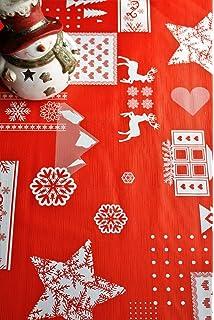 Mantel de Navidad estampado con relieve, en rojo, se limpia con un paño, de 140 cm x 200 cm, de…
