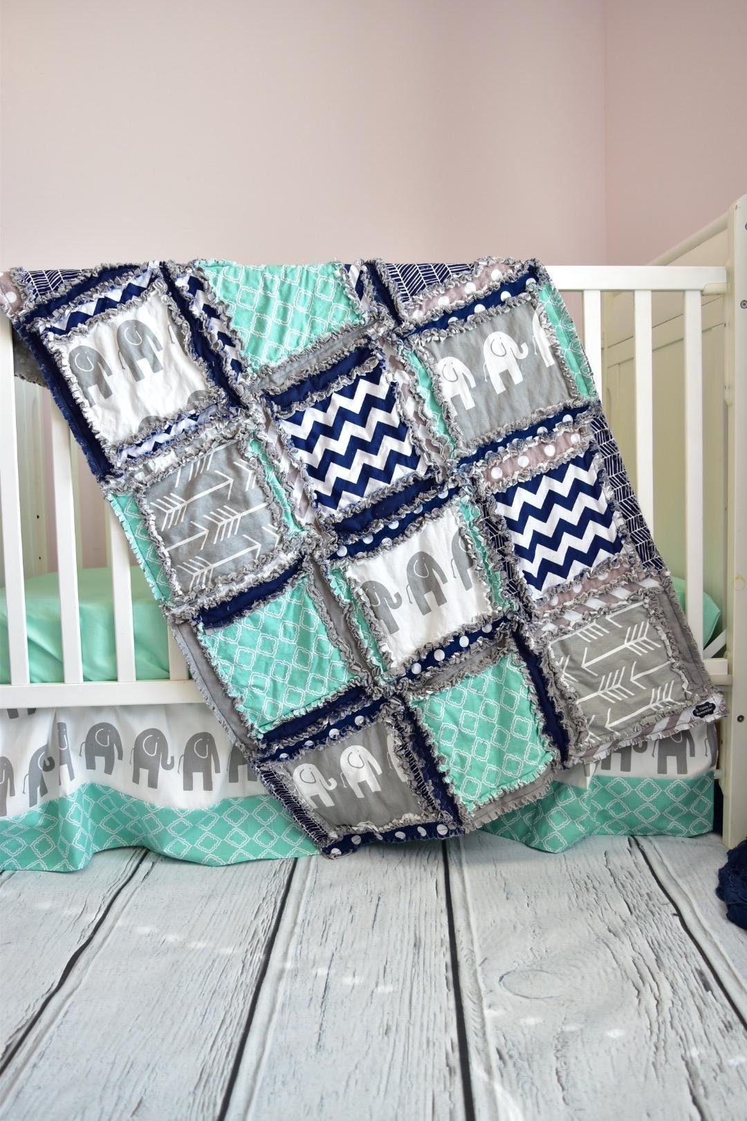 Elephant Crib Set - Mint / Gray / Navy - Safari Baby Bedding with Quilt, Skirt, Sheet
