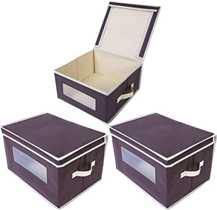 Foldable Fabric Storage Containers / Bins   Organization Cube Boxes With  Clear Windows U0026 Lids