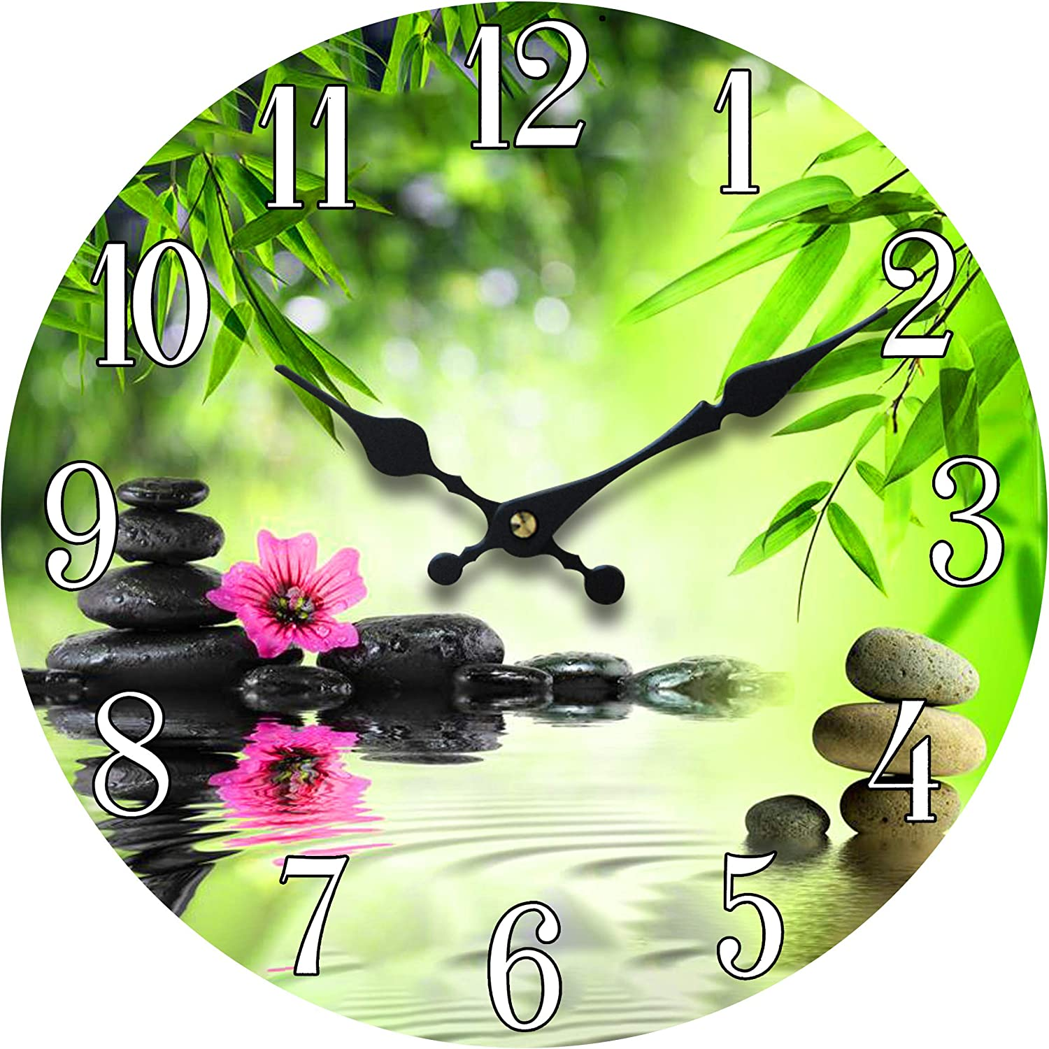 Wall Clock Glass Serene Scene Decorative 13 Inch Zen Theme Perfect Decor for Kitchen Bathroom Office Rustic Battery Operated Clocks Great Theme for Bedroom Peaceful Decoration Ticking Water