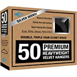 Closet Complete Premium True Heavyweight Velvet Hangers, 50, Black
