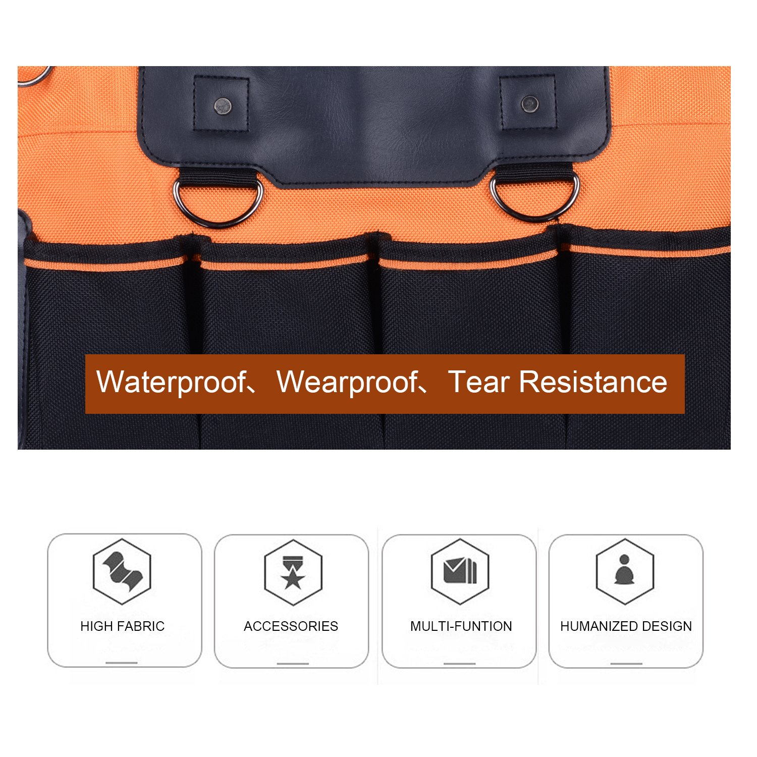 16 Inch 16 Pockets Wide Mouth Single-Shoulder Tool Bag Water Proof Ultra-Rigid Base Tool Storage and Organizer Bag by Sonyabecca (Image #5)