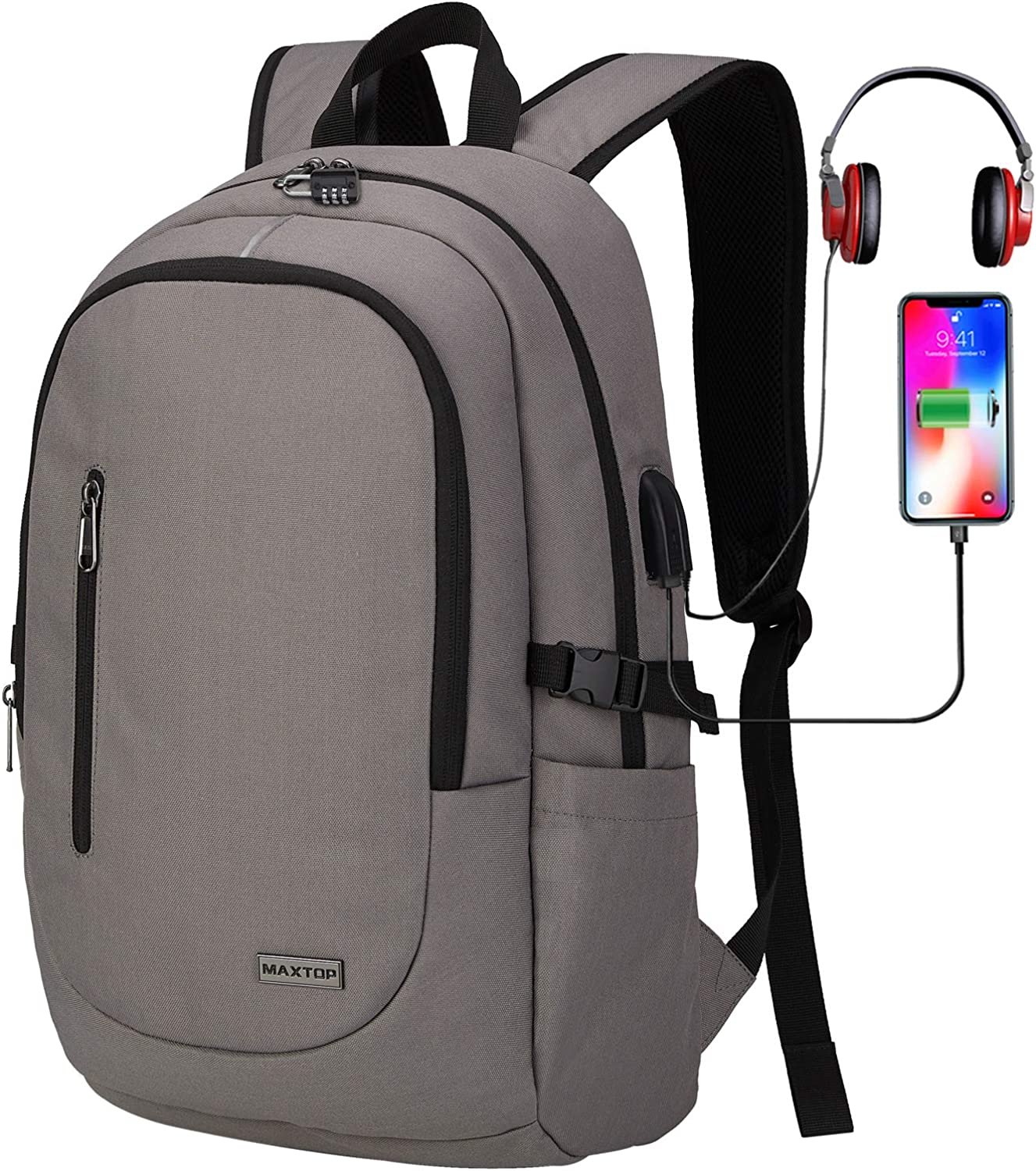 Laptop Backpack with USB Port Anti-Theft College Bookbag School Business Travel Computer Backpack Fits up to 15.6-inch