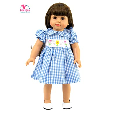 American Fashion World Blue Plaid Dress with Smocked Detail Made for 18 inch Dolls Such as American Girl Dolls: Toys & Games