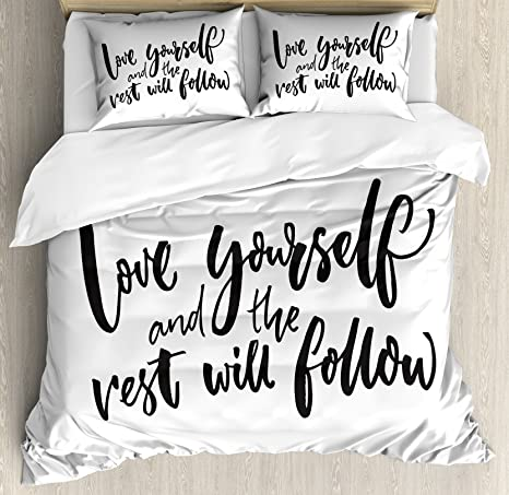 Amazon Com Ambesonne Saying Duvet Cover Set Love Yourself And The Rest Will Follow Motivational Phrase Wisdom Words Decorative 3 Piece Bedding Set With 2 Pillow Shams Queen Size Charcoal White Home