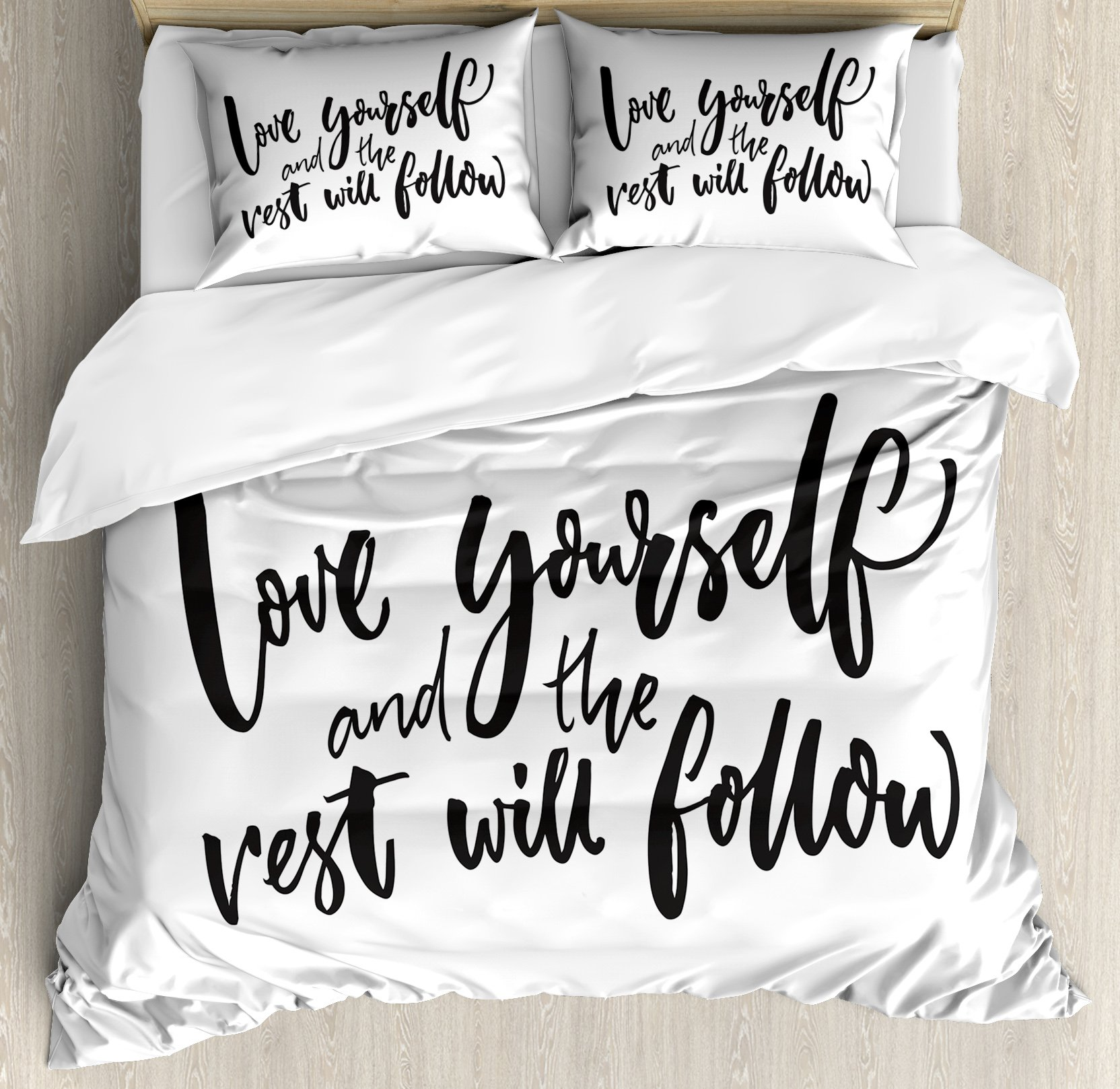 Quote Duvet Cover Set Queen Size by Ambesonne, Love Yourself and the Rest Will Follow Motivational Phrase Wisdom Words Zen, Decorative 3 Piece Bedding Set with 2 Pillow Shams, Charcoal Grey White