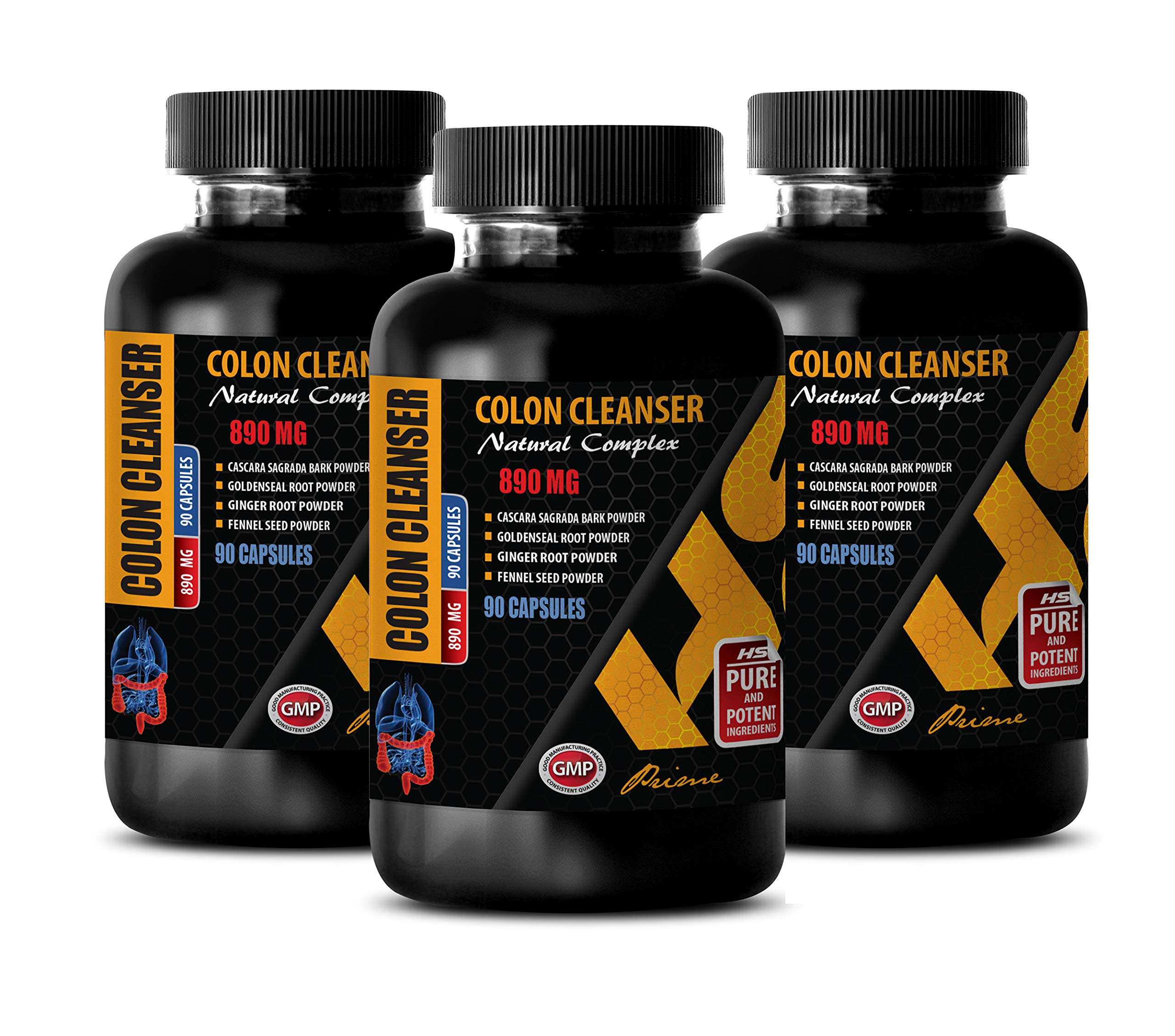 Colon Cleanse Formula - Colon Cleanser 890 MG - Natural Complex - Licorice Root Herbal Extract - 3 Bottles 270 Capsules
