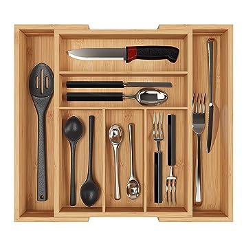 Fantastisch Homfa Bambus Besteckkasten Ausziehbar 7 Fächer Besteckfach Für Schubladen  Schubladeneinsatz Als Küchenorganizer Besteckeinsatz Verstellbar 30
