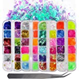 Fluorescence Butterfly Star Nail Glitter Sequins Mixed Holographic Heart Irregular Chunky Glitter Flakes Paillette Festival R