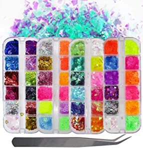 Fluorescence Butterfly Star Nail Glitter Sequins Mixed Holographic Heart Irregular Chunky Glitter Flakes Paillette Festival Rave Cosmetic Crafts Resin Accessories Tips Decor