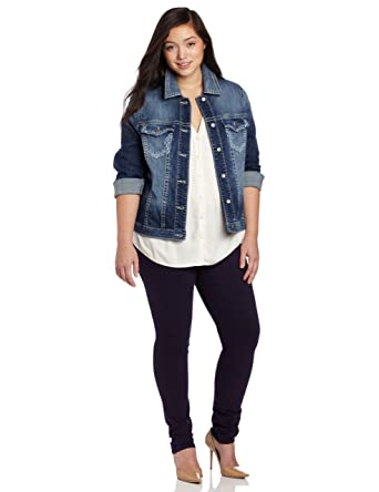 d493957433c Silver Jeans Women s Plus-Size Denim Jacket with Embroidered Pockets at  Amazon Women s Coats Shop