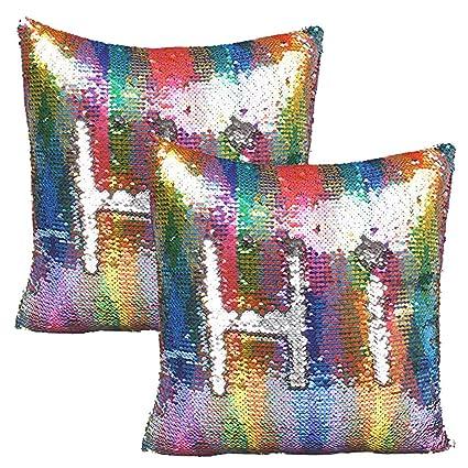 JOTOM Lentejuelas Reversibles de Dos Colores Fundas de cojin,Fundas de Almohadas para el sofá de casa del hogar Decorativos 40x40cm,Juego de 2 ...