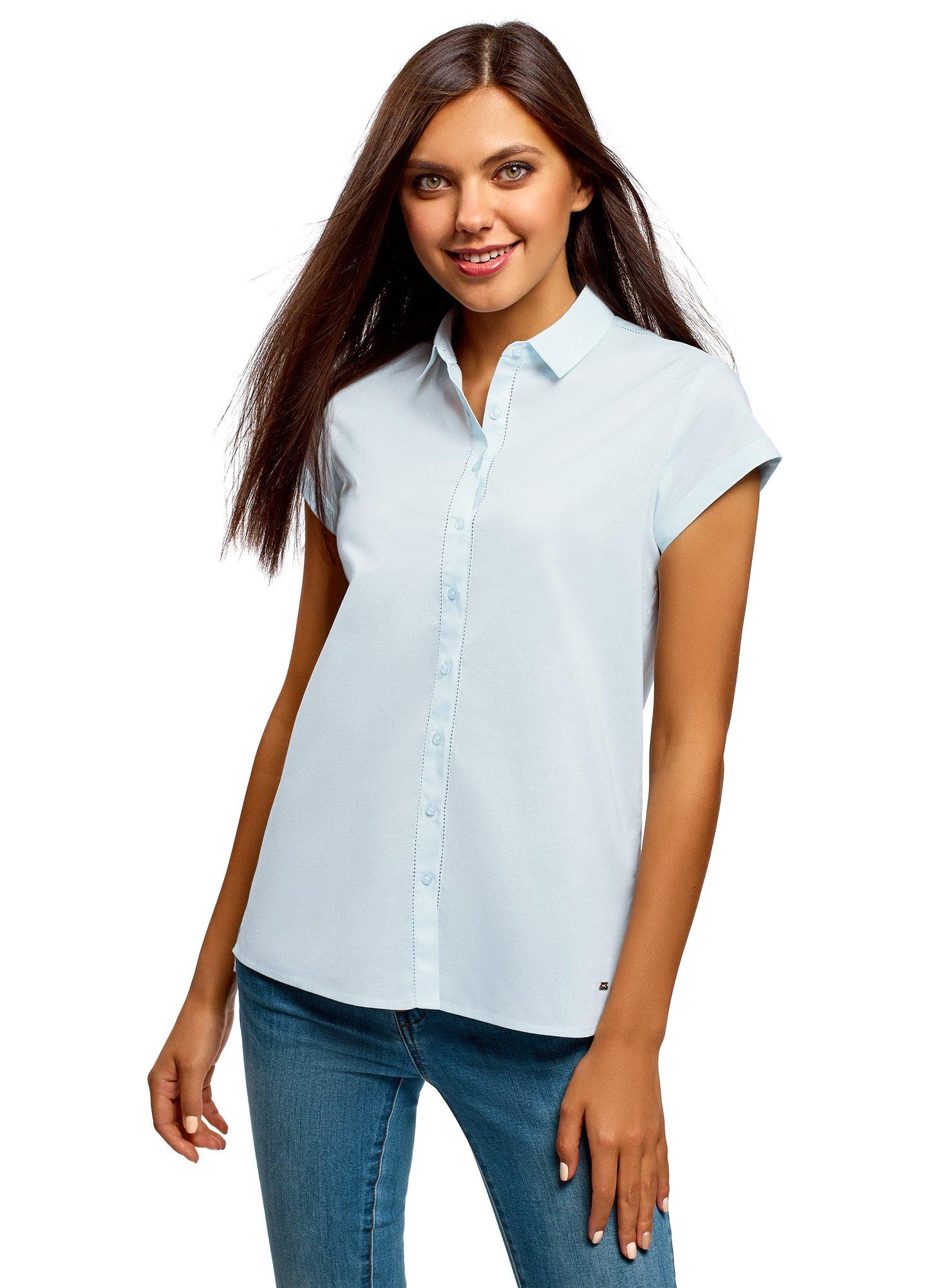 oodji Ultra Women's Short Sleeve Cotton Shirt with Turn-Ups, Blue, 2 by oodji (Image #1)
