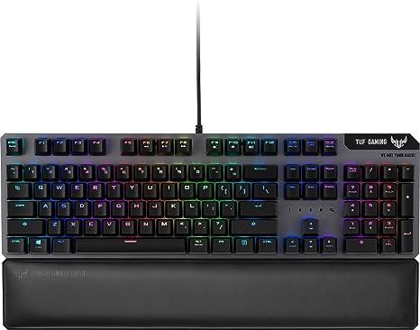 Asus TUF Gaming K7 - Teclado Mecánico óptico, 2.5 Veces más ràpido, Reposamuñecas, RGB, Macros, configura con la versión Software Armoury II